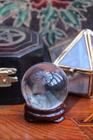 Mini Crystal Ball With Wooden Stand 40mm - Penny Bizarre - 1
