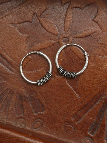 Hand Crafted 925 Sterling Silver Balinese Hoop Earrings 12mm - Penny Bizarre - 1