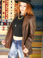 Vintage 1970s Dark Tan Leather Blazer Jacket - Penny Bizarre - 4