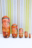 Hand-made Wooden Russian Dolls Set Ganesh Elephant - Penny Bizarre - 1