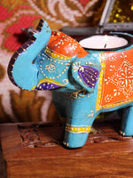Wooden Indian Elephant Tea Light Holder (Blue) - Penny Bizarre - 2