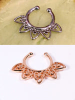 Tribal Silver or Gold Fan Non-pierced Septum Ring - Penny Bizarre - 1