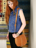 Vintage 70s Tan Leather Saddle Bag - Penny Bizarre - 2