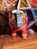 Wooden Indian Elephant Tea Light Holder (Red) - Penny Bizarre - 2