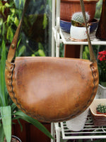 Vintage 70s Tooled Tan Leather Saddle Bag - Penny Bizarre - 5