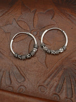 Hand Crafted 925 Sterling Silver Balinese Hoop Earrings 15mm - Penny Bizarre - 2