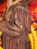 Vintage Brown Leather Biker Tassel Jacket - Penny Bizarre - 5