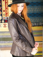 Vintage 1970s Dark Brown Leather Blazer Jacket - Penny Bizarre - 2