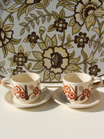 1970's Brown Floral Tea For Two - Penny Bizarre - 1