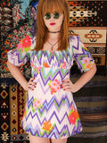 Vintage 1970s Ziggy Flower Power Mini Dress Tunic - Penny Bizarre - 1