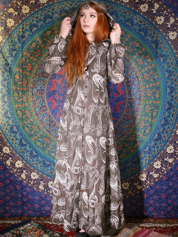 Vintage 1970s Paisley Hooded Maxi Dress Duster Coat - Penny Bizarre - 1