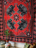 Indian Wall Hanging Double Throw Bedspread Elephant Red - Penny Bizarre - 2