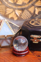 Mini Crystal Ball With Wooden Stand 30mm - Penny Bizarre - 1