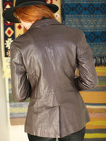 Vintage 1970s Dark Brown Leather Blazer Jacket - Penny Bizarre - 6