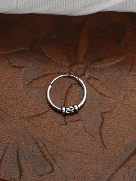 Hand Crafted 925 Sterling Silver Balinese Nose Ring 10mm - Penny Bizarre - 1