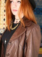Vintage 1970s Dark Tan Leather Blazer Jacket - Penny Bizarre - 5