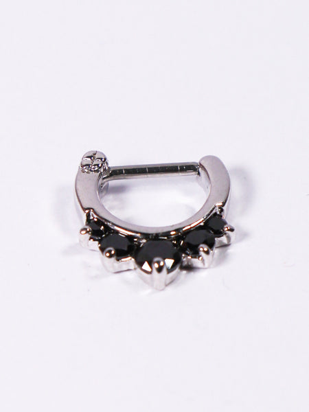 Five Gem Septum Clicker Ring (silver with black) - Penny Bizarre