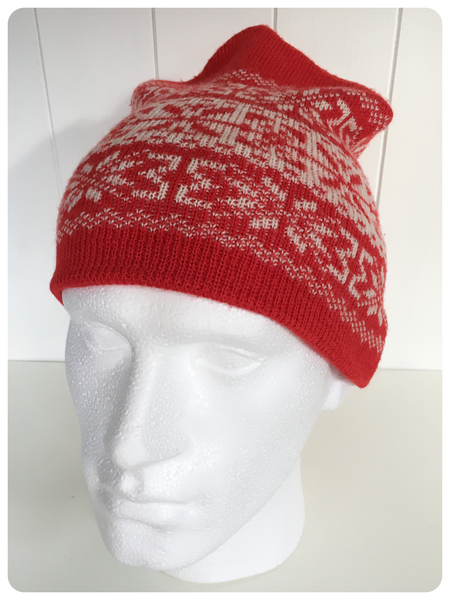 ORIGINAL 1970's SKI BEANIE KNITTED SNOWFLAKE PATTERN WINTER HAT