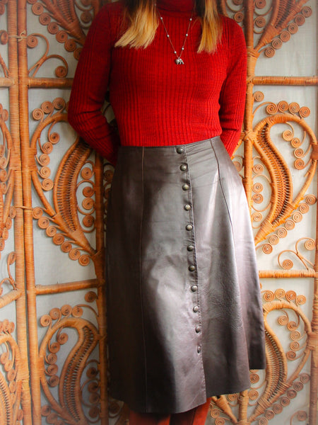 Vintage 70's Dark Brown Leather A-Line Skirt - Penny Bizarre - 1