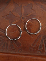 Hand Crafted 925 Sterling Silver Balinese Hoop Earrings 18mm - Penny Bizarre - 2