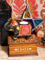 Wooden Indian Elephant Tea Light Holder (Black) - Penny Bizarre - 1