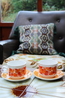 1970's Yellow Orange Funky Floral Tea For Two - Penny Bizarre - 1