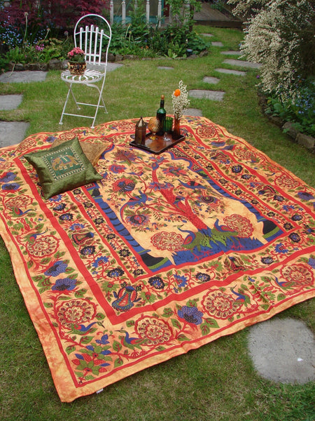 Indian Wall Hanging Double Throw Bedspread Tree of Life Peacocks - Penny Bizarre - 1