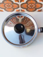 1970's Brown Floral Enamel Medium Saucepan - Penny Bizarre - 6