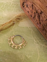 Lace Tribal Fan Septum Clicker Ring (gold) - Penny Bizarre