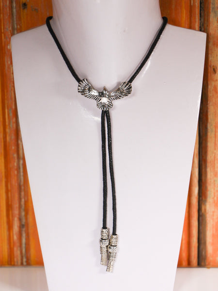 Hand Crafted Eagle Bootlace Bolo Tie Western Necklace - Penny Bizarre - 1