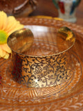 Wide Concave Hand Crafted Indian Flowers Brass Bangle - Penny Bizarre - 2