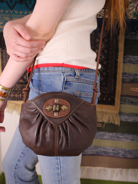 Vintage 80s Dark Brown Leather Concho Bag - Penny Bizarre - 1