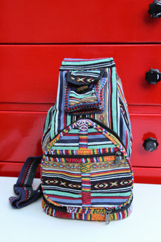 Striped Woven Nepalese Fold Away Backpack Rucksack Bag - Penny Bizarre - 1