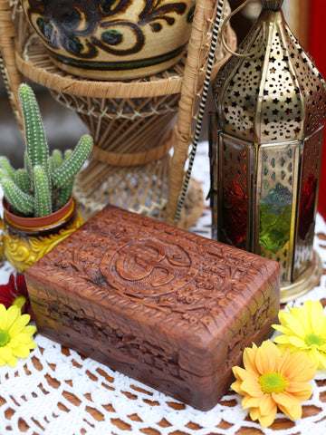 Hand-made Indian Wooden Box Om - Penny Bizarre - 1
