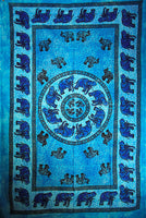 Indian Wall Hanging Single Throw Bedspread Elephant Tye Dye Turquoise - Penny Bizarre - 1