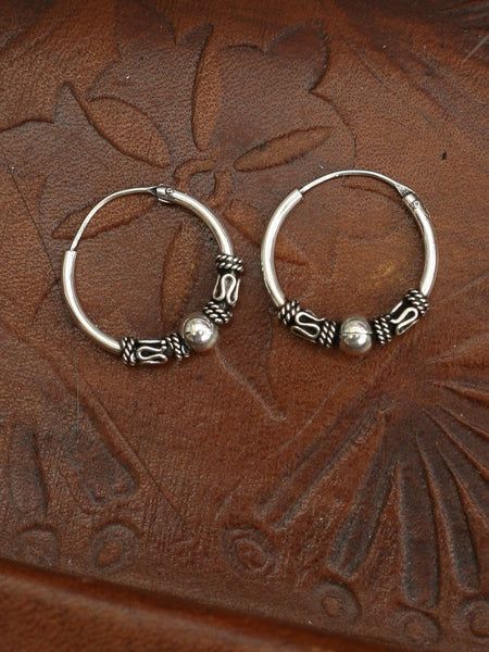 Hand Crafted 925 Sterling Silver Balinese Hoop Earrings 15mm - Penny Bizarre - 1