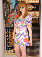 Vintage 1970s Ziggy Flower Power Mini Dress Tunic - Penny Bizarre - 2