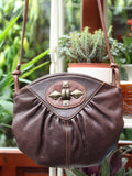 Vintage 80s Dark Brown Leather Concho Bag - Penny Bizarre - 3