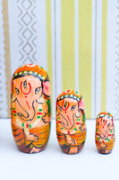 Hand-made Wooden Russian Dolls Set Ganesh Elephant - Penny Bizarre - 4