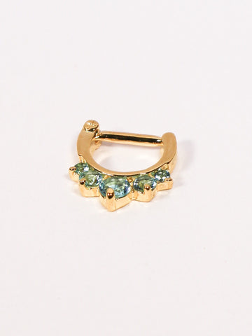 Five Gem Septum Clicker Ring (gold with turquoise stones) - Penny Bizarre