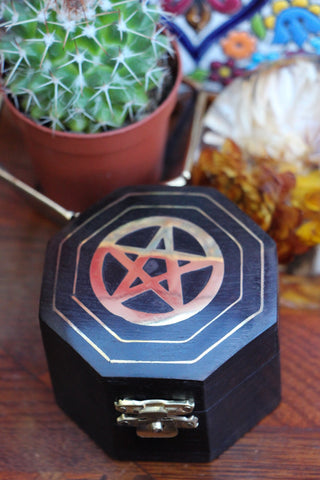 Hand-made Indian Brass Inlay Wooden Box Pentagram Black - Penny Bizarre - 1