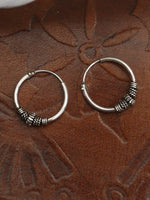 Hand Crafted 925 Sterling Silver Balinese Hoop Earrings 12mm - Penny Bizarre - 2