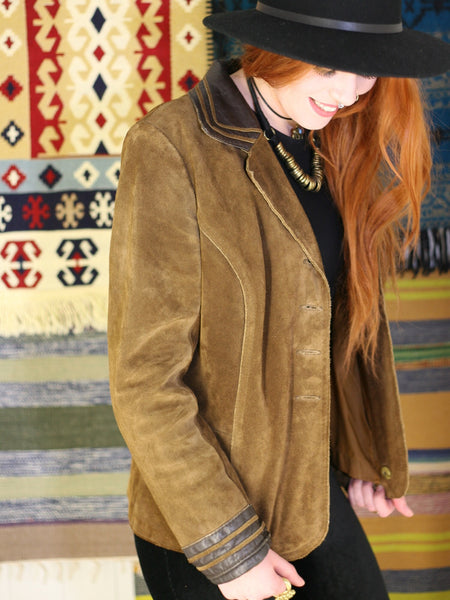 Vintage 1970s Tan Suede & Leather Jacket - Penny Bizarre - 1