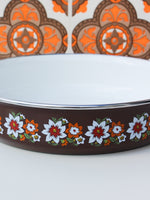 1970's Brown Floral Enamel Frying Pan - Penny Bizarre - 3