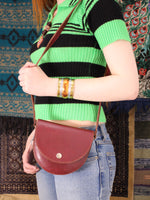 Vintage 70s Oxblood Leather Saddle Bag - Penny Bizarre - 1