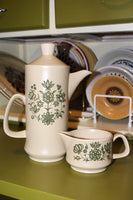1970's Royal Worcester Palissy Coffee Pot & Creamer / Milk Jug - Penny Bizarre - 1