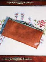 Vintage Large Tan Leather Purse - Penny Bizarre - 2