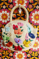 Vintage 70's Straw Tapestry Embroidered Bag - Penny Bizarre - 3