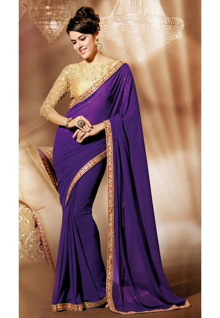 Blue Color Georgette Saree - Ethnicyug