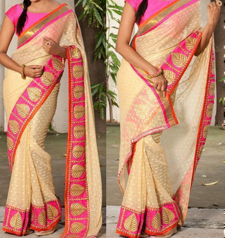 Beige Color Georgette Saree - Ethnicyug